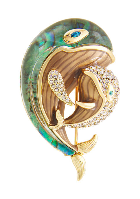 Napier Gold Tone Blue Crystal Mom Baby Whale