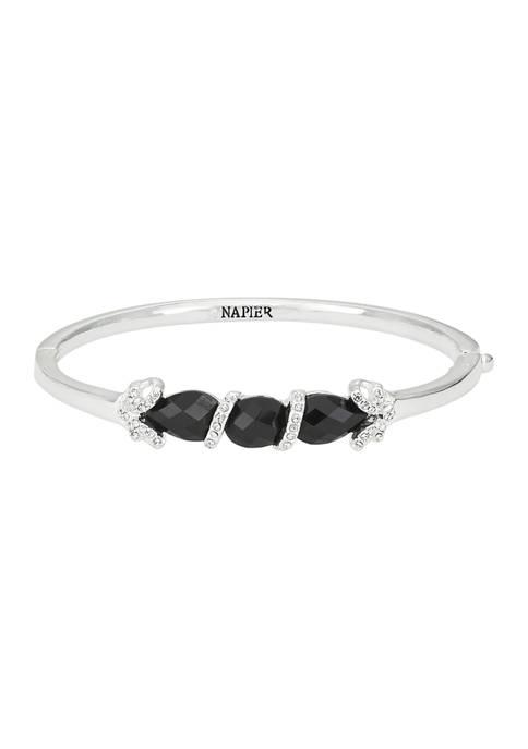 Napier Silver Tone Boxed Jet Stone Bangle Bracelet