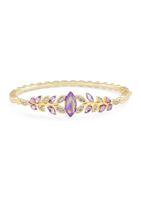Napier Gold Tone Boxed Purple Stone Crystal Leaves