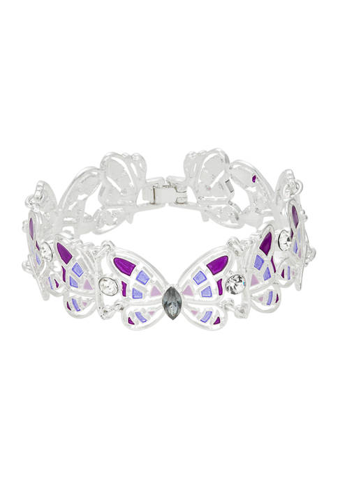 Silver Tone Boxed Purple Link Butterfly Flex Bracelet