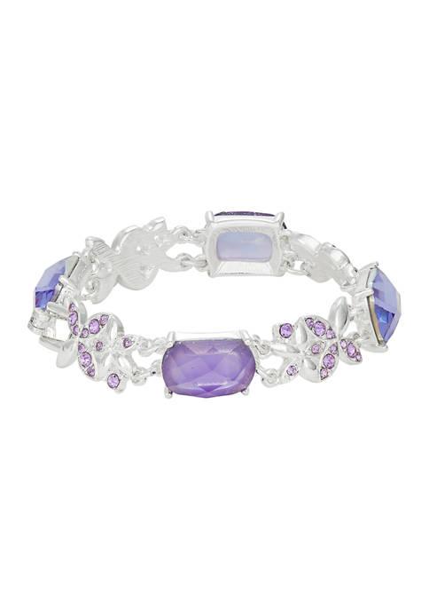 Silver Tone Boxed Tanzanite Crystal Flower Flex Bracelet