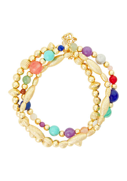 Napier Gold Tone Rainbow Stretch Bracelet