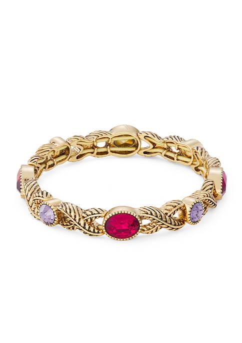 Napier Gold Tone Multi Stone Textured Stretch Bracelet