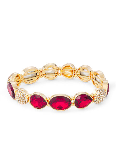 Napier Gold Tone Siam Crystal Wide Stretch Bracelet