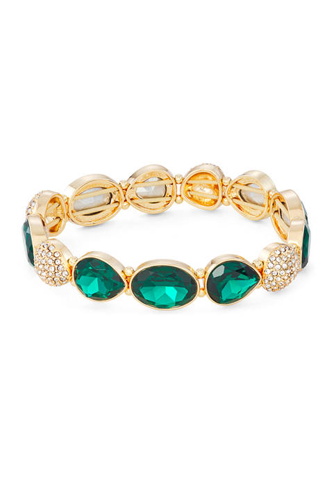 Napier Gold Tone Emerald Green Crystal Wide Stretch