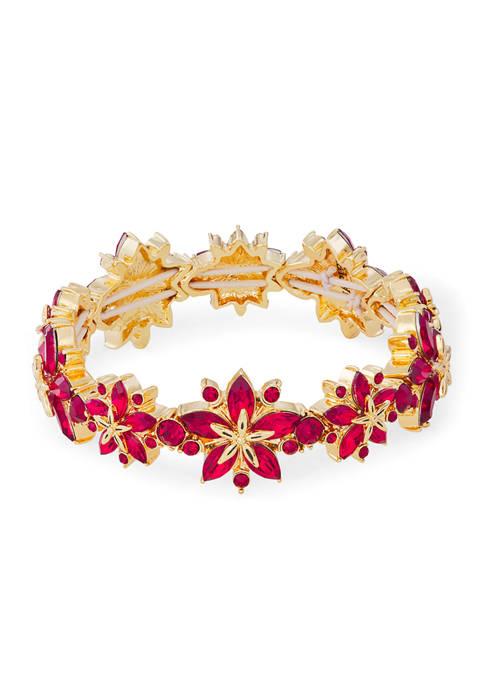 Napier Gold Tone Red Poinsettia Stretch Bracelet