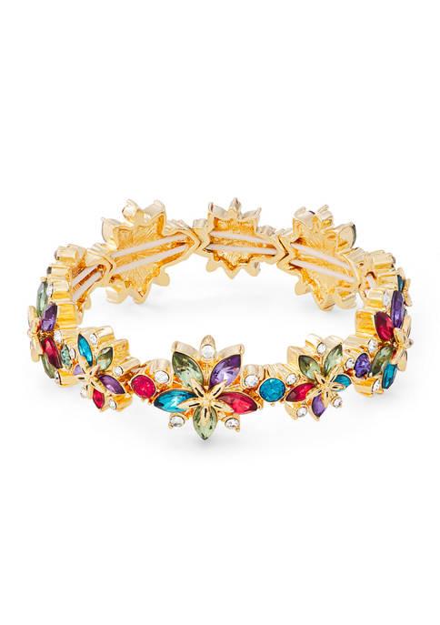 Napier Gold Tone Multi Poinsettia Stretch Bracelet