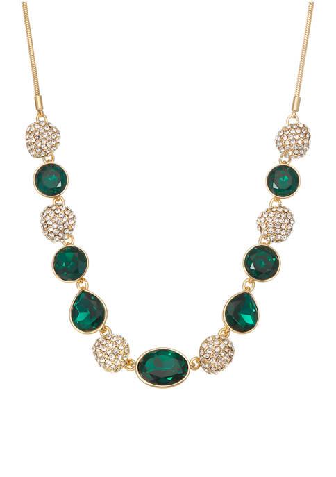 Napier Gold Tone Emerald Green Crystal Fireball Collar