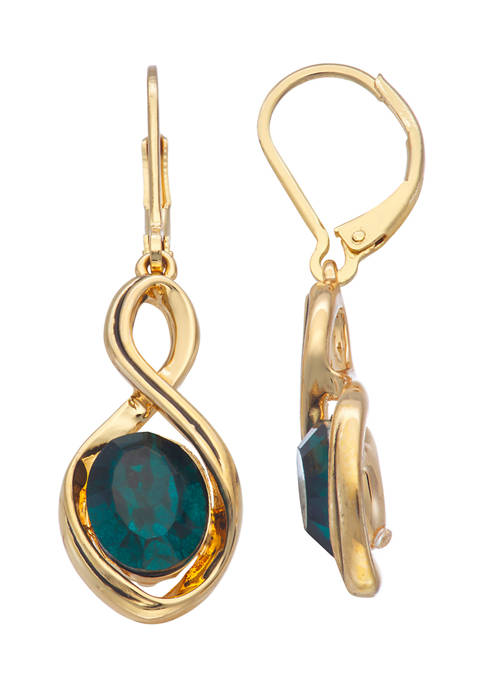 Napier Gold Tone Green Twisted Leverback Drop Earrings