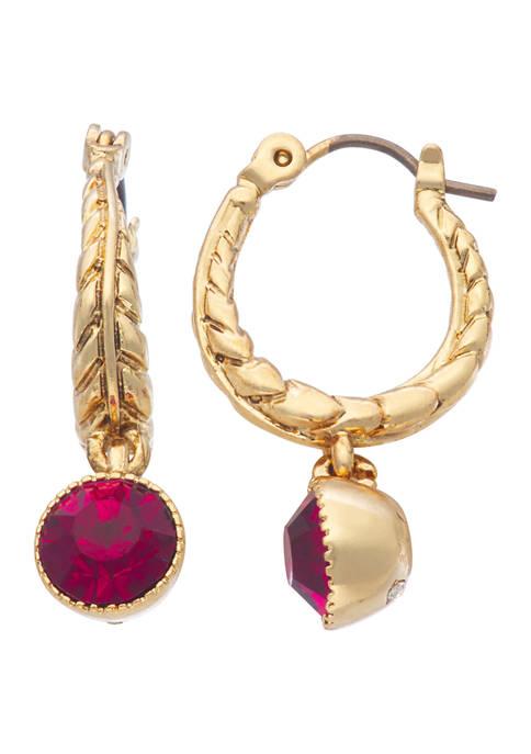 Napier Gold Tone Red Drop Textured Huggie Hoop