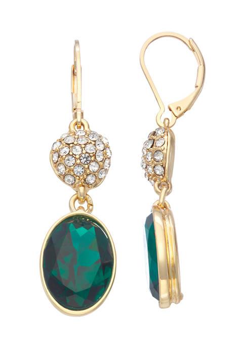 Napier Gold Tone Emerald Green Crystal Double Drop
