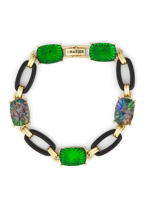 Napier Gold Tone Green Black Link Stretch Bracelet