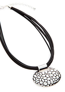 Adjustable Leather Pendant Necklace