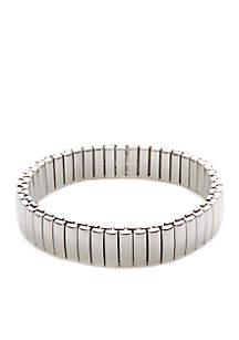Napier Polished Silver-Tone Open Link Stretch Bracelet