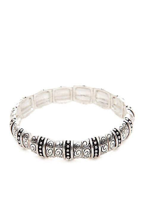 Stretch Silver Tone Textured Square Bracelet