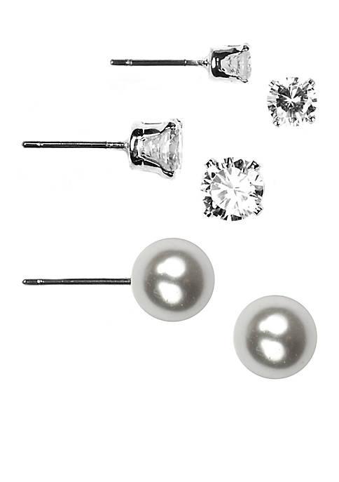 Three Crystal and Pearl Stud Earring Set