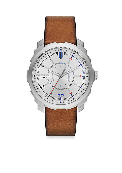 Diesel Mens Machinus Brown Leather Three Hand Watch