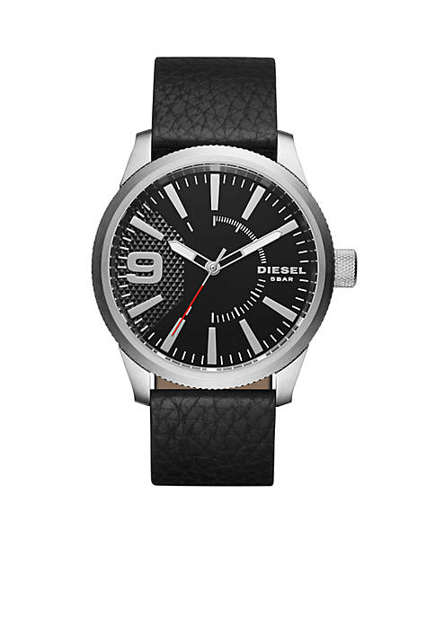 Diesel Mens Rasp Black Leather Watch