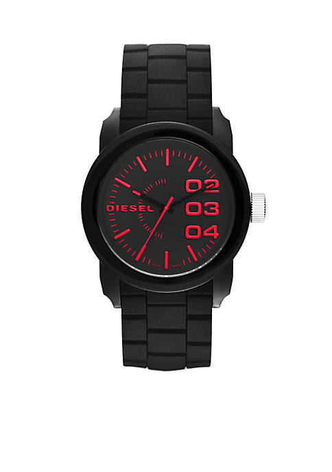 Diesel Mens Down Black Silicone Three-Hand Watch