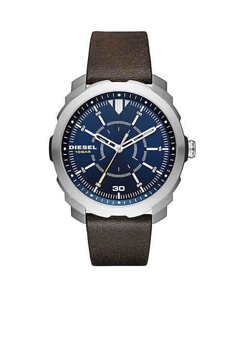 Diesel Mens Machinus NSBB Dark Brown Three-Hand Watch