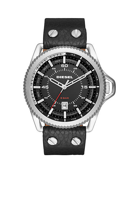 Diesel Mens Rollcage Black Leather Three-Hand Watch