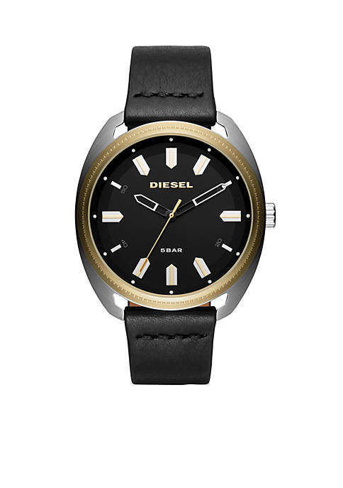 Diesel Mens Two-Tone Fastbak Black Leather 3-Hand Watch