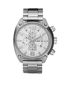 Men's Stainless Steel Bracelet and White Chronograph Round Dial Watch