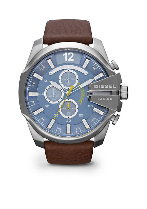 Mens Brown Leather Blue Dial Watch