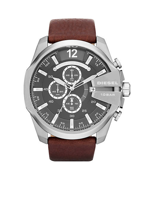 Diesel Mens Silver-Tone Stainless Steel and Brown Leather