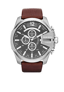 Men's Silver-Tone Stainless Steel and Brown Leather Chronograph Watch