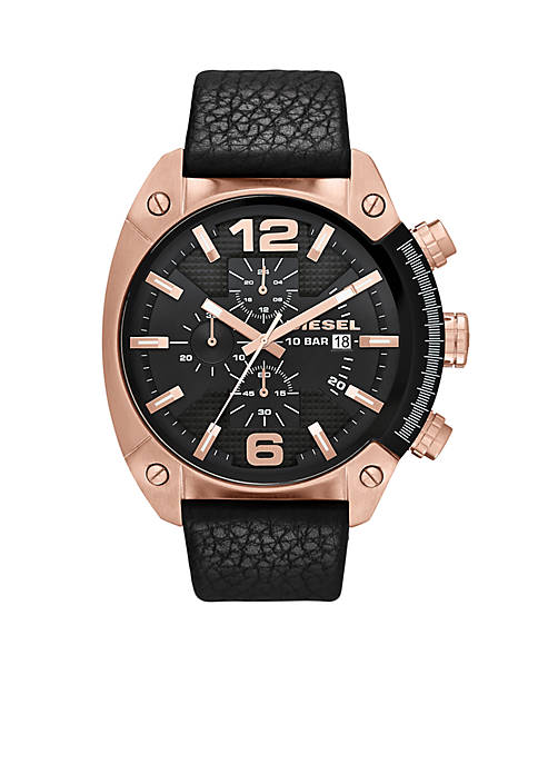 Diesel Mens Black Leather and Rose Gold-Tone Stainless