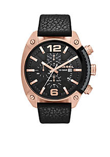 Men's Black Leather and Rose Gold-Tone Stainless Steel Chronograph Watch