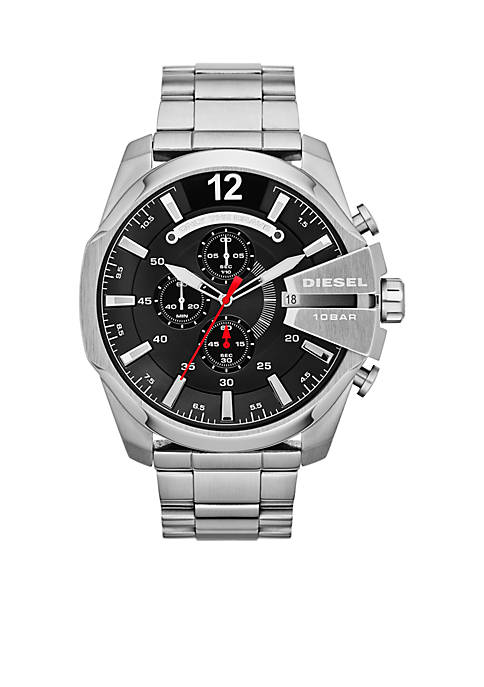 Diesel Mens Silver-Tone Stainless Steel Chronograph Mega Chief