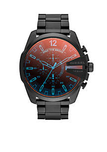 Diesel Men's Black Stainless Steel and Iridescent Dial Chronograph Mega Chief Watch