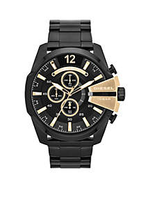 Men's Black IP Stainless Steel Chief Series Chronograph Watch