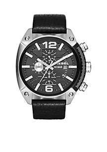 Overflow Black Leather Strap Chronograph Watch