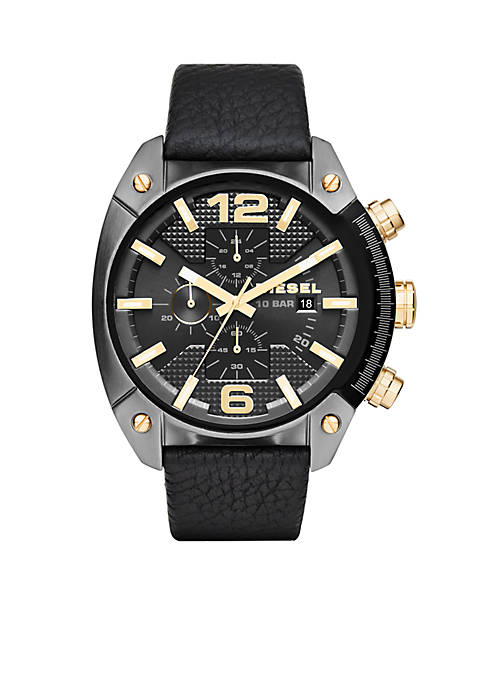Diesel Mens Overflow Black Leather Chronograph Watch