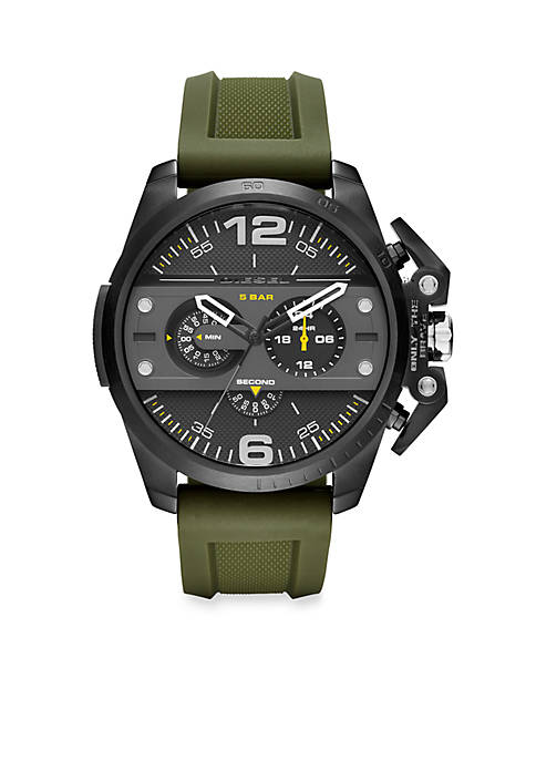 Diesel Mens Ironside Green Silicone Black Dial Chronograph