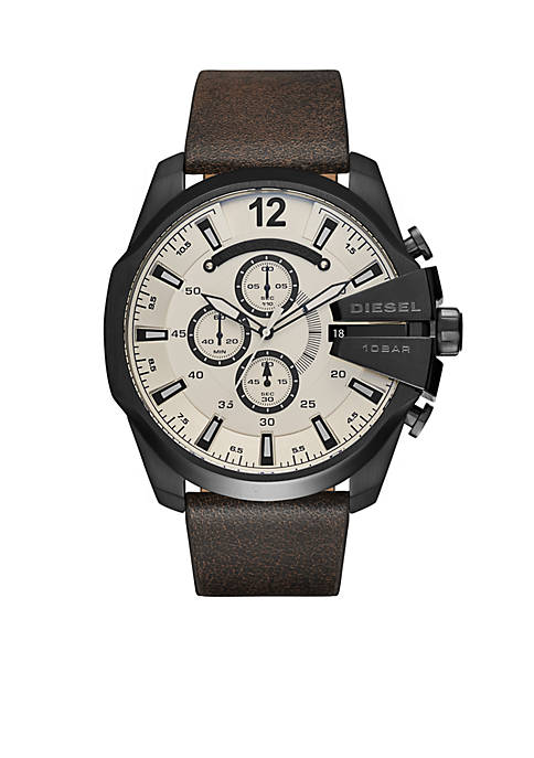Diesel Mens Mega Chief Dark Brown Leather Chronograph