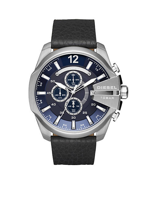 Diesel Mens Mega Chief Black Leather Chronograph Watch