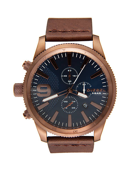 Diesel Gold-Tone and Brown Leather Chronograph Watch