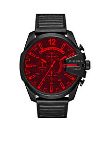 Men's Black Stainless Steel Mega Chief IP Leather Chronograph Watch