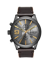 Men's Rasp Chronograph 50 Gunmetal IP Brown Leather Watch