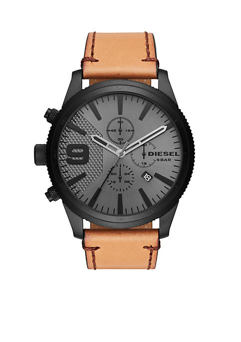 Diesel Mens Brown Leather Chronograph Dial Watch