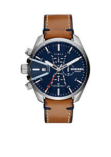 Brown Leather Chronograph Watch