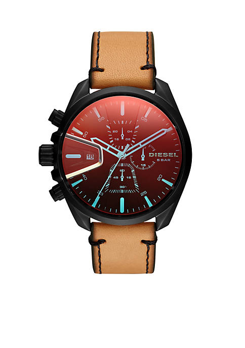 Mens MS9 Chrono Black IP and Brown Leather Watch
