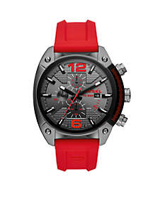 Men's Overflow Gunmetal and Red Silicone Watch