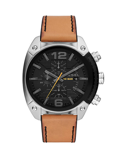 Overflow Three-Hand Brown Leather Watch