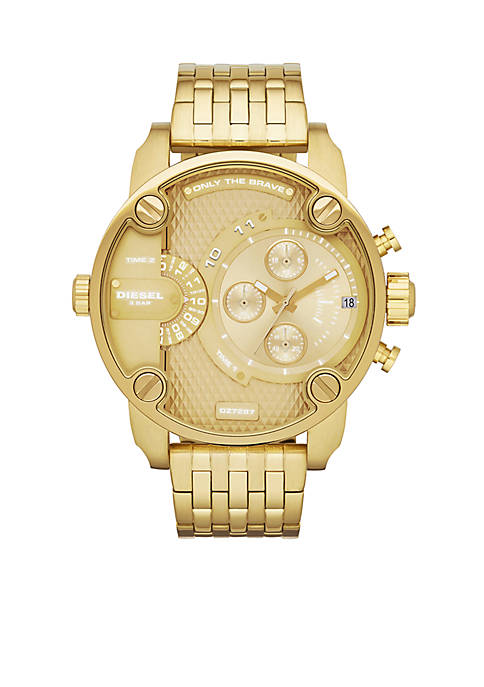 Diesel Mens Gold-Tone Stainless Steel Multi-Function Watch