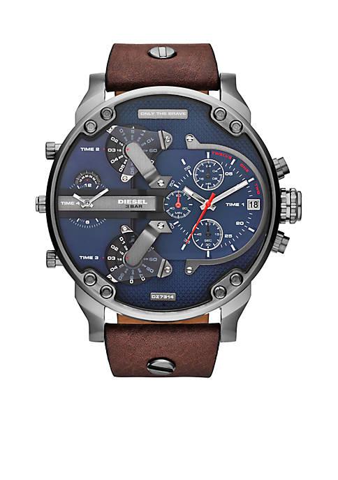 Diesel Mens Brown Leather Mr.Daddy 2.0 Multi-Movement Watch